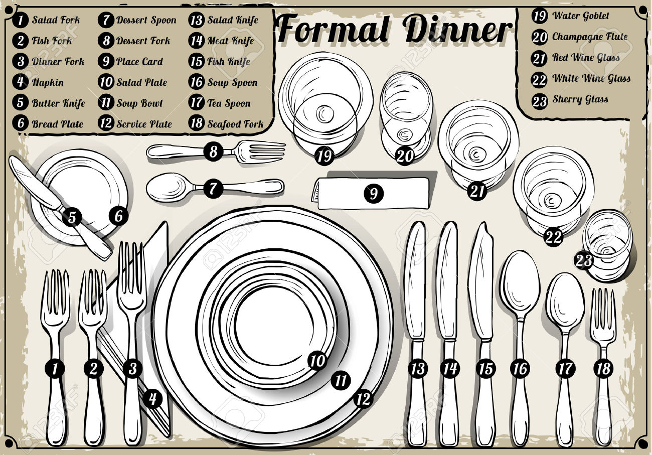 33103152-Detailed-Illustration-of-a-Vintage-Hand-Drawn-Place-Setting-Formal-Dinner-Stock-Vector