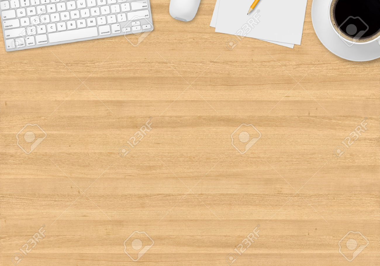 34754178-Top-office-table-with-cup-of-coffee-papers-pencil-mouse-and-keyboard-Stock-Photo