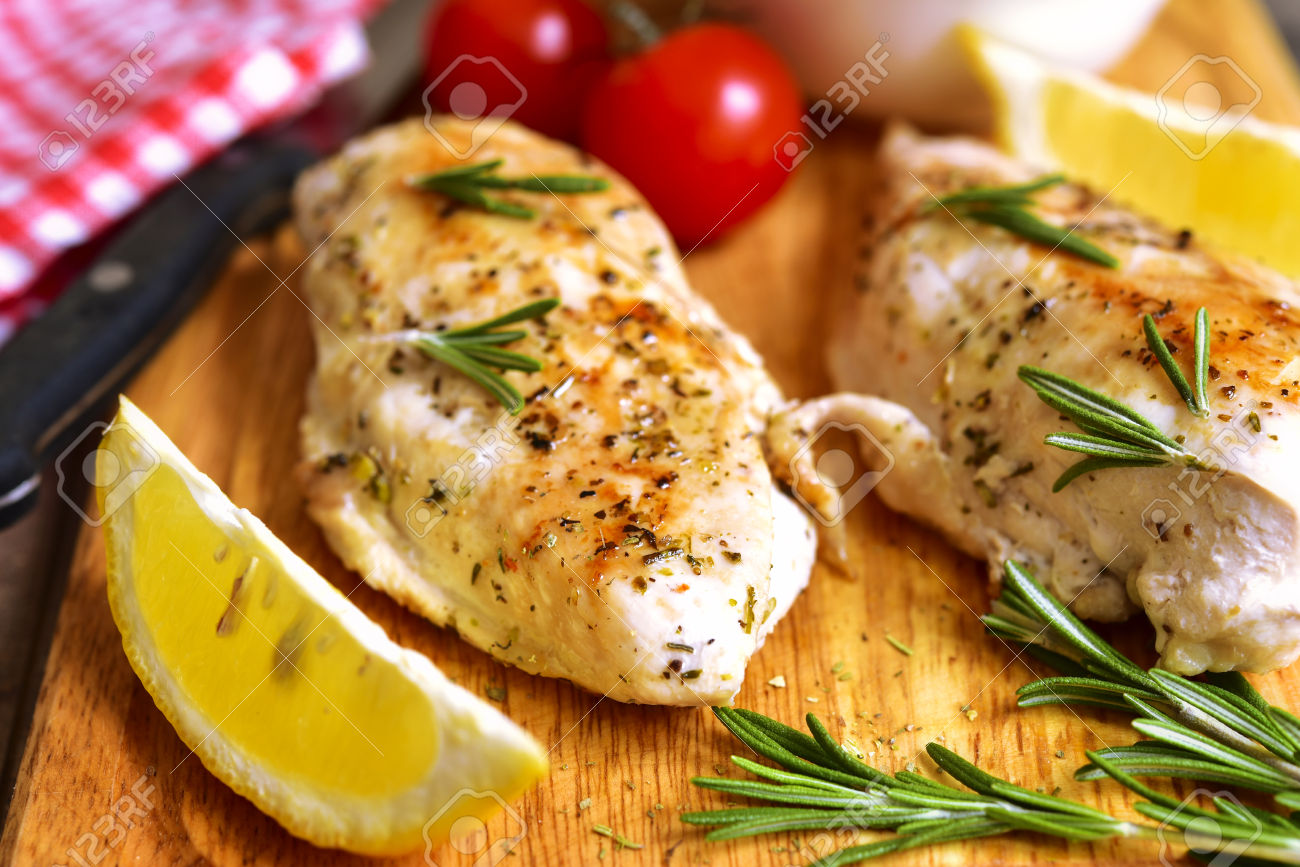 Chicken breast baked with rosemary.