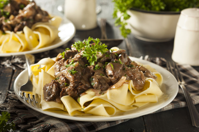 33367105 – homemade hearty beef stroganoff with mushrooms and noodles