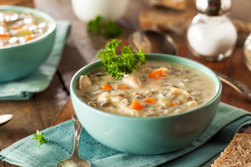 47434599 – homemade wild rice and chicken soup in a bowl