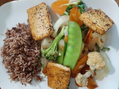 Asian stirfry with tofu and brown basmati rice